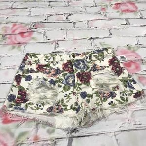 Floral Distressed Jeans Shorts by Forever 21 NWT